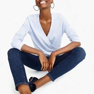 Light blue J. Crew faux-wrap top in textured crepe